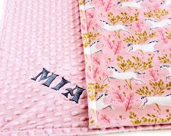 Personalized Baby Blanket, Pink Unicorn Baby Blanket, Baby Girl Minky Blanket Custom Baby Blanket Receiving Blanket Nursery Decor, Baby Gift