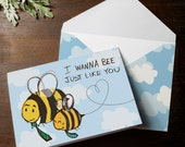 INSTANT DOWNLOAD Father's Day Bumble Bee Card I wanna bee just like you. Cute clouds illustrated sketchy fathers day card for children