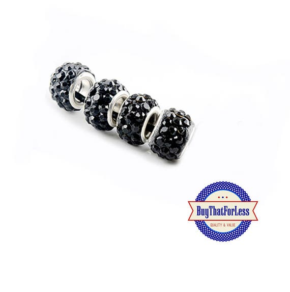 Glittery Glass BEADS, Black, 6, 12 or 24 pcs +FREE SHIPPING & Discounts*