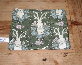 Hare print fabric wash bag. Rabbit print fabric bag, tweed and hare print fabric, pencil case, gift for her, Christmas gift