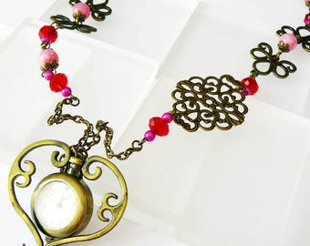 Sautoir watch gousset retro filigree stamp, fuchsia pink brass and pearls