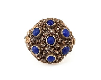 Vintage Chinese Sterling Gold Plated Lapis Ring - Chinese Export Jewelry, Filigree Metal, Vintage Ring, Size 7.5 Adustable
