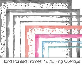 Hand Painted Watercolor Frames. 12x12 Digital Overlays. Personal and Limited Commercial Use.