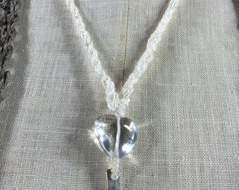 Uniquely Designed Necklace-Light Capturing Quartz Heart with Textured Silver Dangle on a Cotton and Rayon Fiber Cord-a tiny quiet