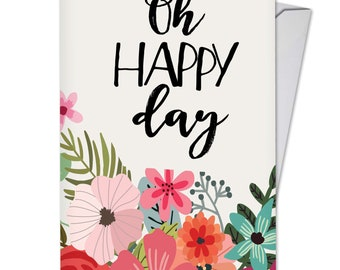 C6631GBDG Optimisms: Birthday Card Featuring an Inspirational Saying Combined with Bright and Colorful Floral Images, with Envelope.