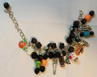 Handmade Halloween Theme Charm Bracelet on Silver Open Link Chain Skeletons Black Cat Eyeball and Witches
