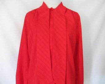 1970's Red Blouse Vintage Silky Ascot Neckline Scarlet Bombshell Glam Secretary Blouse