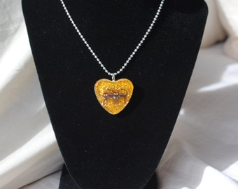 Black Cats Heart Resin Necklace