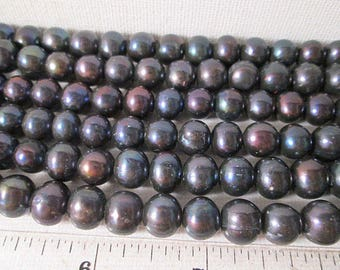 10mm Fresh Water Pearl Beads, Round Pearl Beads, Peacock Fresh Water Pearl Beads, 10mm Black Pearl Beads, Small Hole, QTY 12 beads - fw22