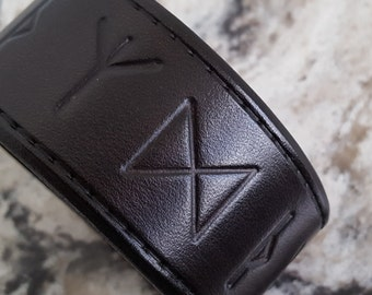 Leather RUNE Cuff, Leather Wristband, Leather Cuff . For Protection, Defense, Warding off of Evil, Guardian, Awakening, Channeled Energies