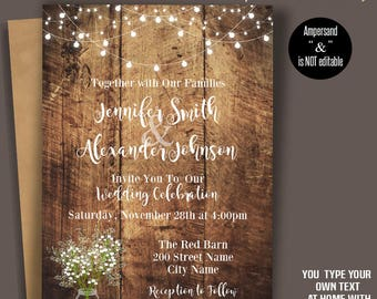 Printable Wedding Invitation, Rustic Wedding Templates, Baby's breath flowers, mason jar, Instant Download Self-Editable PDF A3034