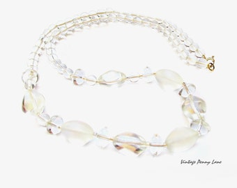 Vintage Glass Bead Necklace, Clear / Frosty