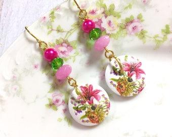 Button Earrings, Painted Flower Button Earrings, Pink Flower Earrings, Button Jewelry, Wood Button Beaded Earrings, Surgical Steel (DE1)