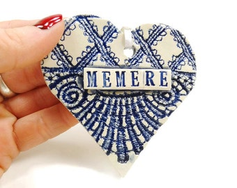Memere Ornament, French Grandma, Mother's Day Gift, Memere Christmas, Grandmother Gift, Memere Birthday, French Grandmother, French Heart