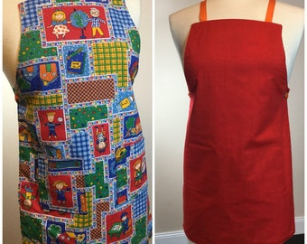 Children's Colourful Reversible Crafting/Cooking/Gardening Apron