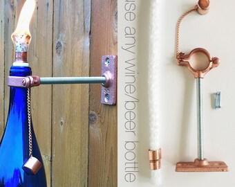 5 HARDWARE ONLY  Wine Bottle Tiki Torch kits - DIY Outdoor Lighting - Hanging Lantern - Mothers Day Gift idea  - Outdoor Tiki Torch