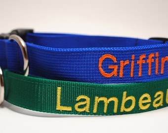 Personalized Custom Dog Collar - Classic Solid / Small and Large Widths