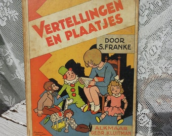narrations and Pictures * S. Franke. Old Vintage Book/colored drawings-Freddie Langeler/Retro/Toddlers/happy tell-hour