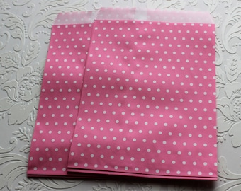 Mini Pink Polka Dot Paper Bag- Gift Bag, Party Favor, Party Supply, Shop Supply, Treat Bag, Merchandise Bags