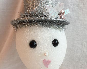 Silver Hat Snownman Ornament ECS