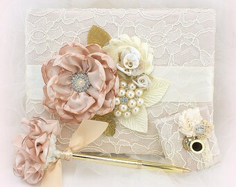 Wedding Guest Book and Pen Set Blush Gold and Ivory Vintage Style Signature Book Guest Sign In Book Lace Guestbook Gatsby Style