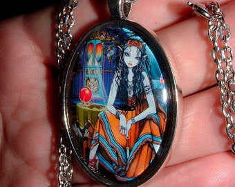 Bohemian Fortune Teller Gypsy Vardo Hippie Remember Me Glass Cameo Art Necklace Pendant