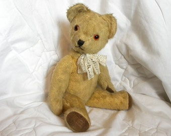 "Pedigree Musical 15"" Bear - Vintage English Teddy - Antique Bears - Teddy Bear - 1940's Mohair Bear"