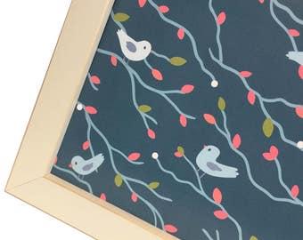 Magnet Board - Magnetic Memo Board - Dry Erase Board - Framed Bulletin Board - Office Wall Decor-Flock of Blue Birds Design - inclds magnets