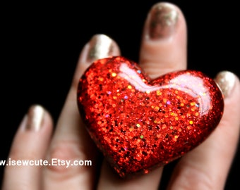 Resin Jewelry Ring Heart Shaped Red Statement Ring, Big Bling... Bold Fiery Red Highlights, Chunky Resin Ring, Resin Jewelry by isewcute
