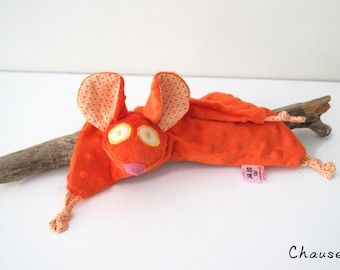 Orange mouse blankie - Mouse security blanket - Stuffed Animal - Baby Shower Gift - Baby gift