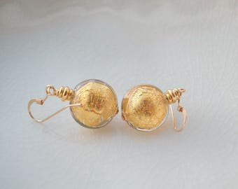 Gold Earrings In Murano Glass