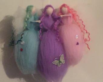 The Love Of Three Needle Felt Fairies, Waldorf Inspired, Felt Fairies