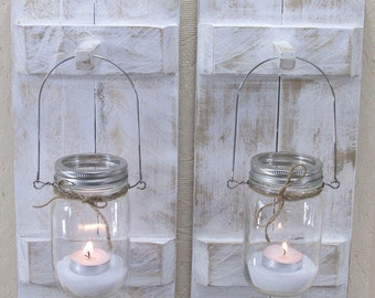 Wood Candle Holder, Farmhouse Decor, Rustic Country, Wood Wall Decor, Mason Jar Candle Holder, Vintage Candle Holder, Wall Sconce