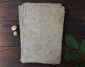 Handmade paper / Deckle edge paper / Textured paper / Hemp fiber paper / Eco friendly paper / A4 paper / Gray paper / Single sheet  (#29)