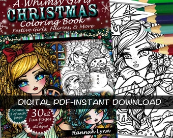 PDF DIGITAL Printable Coloring Book A Whimsy Girls Christmas All Ages Fantasy Mermaid Fairy Art by Hannah Lynn