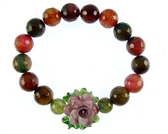 Edelstein-Armband mit Lampwork Blume, Achat Armband, Edelstein-Schmuck, dehnen Floral Anweisung Armband, Muliticolor Perlen Armband