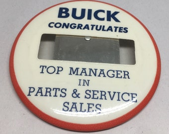 Vintage Buick Dealership Name Badge Button Pin Top Manager Parts Service
