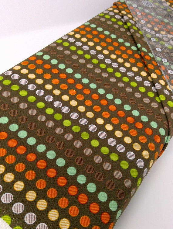 Multicolored Dots In Stripes On Chocolate Brown Background Clean Living by Barbara Jones of Quilt Soup, Quilt Fabric By The Yard 6692 33
