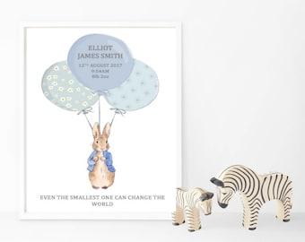 Peter Rabbit Birth Print - Balloons - Pink/Blue