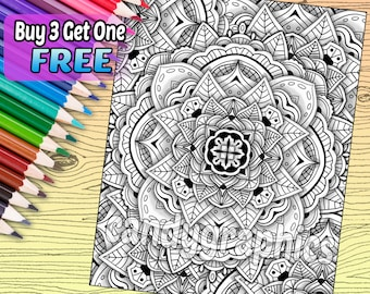 Mandala Pattern Design - Adult Coloring Book Page - Printable Instant Download