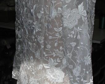 No. 500 Couture Original Design Hand Embroidered Silk Organza Bridal Wedding Jacket/Coat --  CONSTRUCTION INCOMPLETE