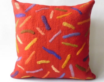 "Felt cushion with filling ""walls"" merino wool Handcraft, felt pillow handmade merino wool home decor hyggeligt"
