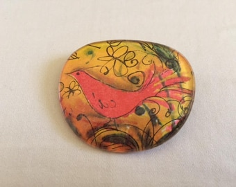 Vintage Recycled Art Eye Glass Painted Brooch Pin