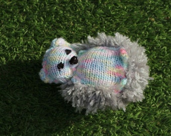 Hedgehog, handknitted, plush, gift, birth, child gift, made in France