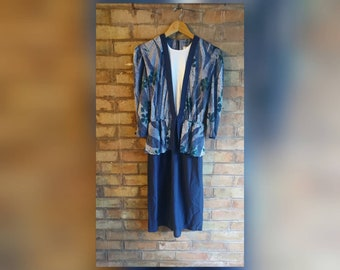 Vintage 80's dress with peplum blouse overlay