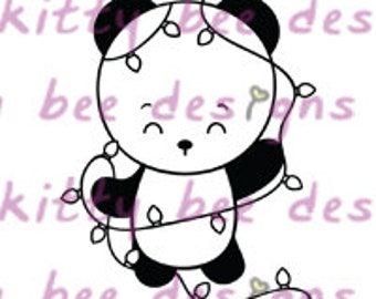 Christmas Lights Panda Digital Stamp
