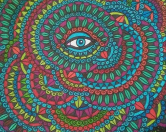 Multicolored Design with Blue Eye Pen and Ink Drawing