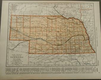 Vintage Nebraska map, 1939 antique US State map, old map for wall art