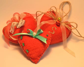 Group 3 hearts decorations, Christmas ornaments in soft fleece.