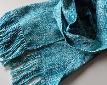 Woven cotton scarf, turquoise scarf, teal scarf, sea wave scarf, men scarf, christmas gift, women scarf, blue-green wrap, summer scarf